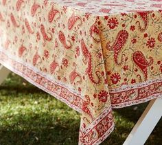 Pottery Barn Block Print Paisley Tablecloth