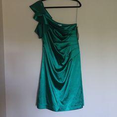 One Shouldered Emerald Dress Silk One shouldered emerald dress with ruffles. Liliana Dresses One Shoulder
