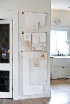 Vintage Linen Display.....LOVE!!!