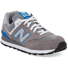 New Balance 574 Shoe (68 AUD) ❤ liked on Polyvore featuring men's fashion, men's shoes, grey, mens shoes, mens grey shoes, mens lace up shoes, mens gray dress shoes and new balance mens shoes