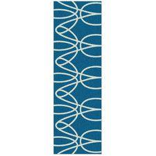 Ribbon Turquoise/White Area Rug
