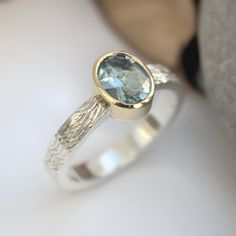Aquamarine ring silver and gold
