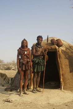 Himba couple in wedding attire
