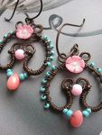 Wire Wrapped Copper Earrings with Coral Flower