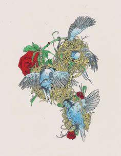 """""""Sperare"""" by Linniker F. de Oliveira #bird #drawing #ink #art #illustration #roses #flower #linniker #sperare #depression #ghost"""