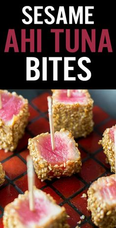 Sesame Seared Ahi Tuna Bites are a fresh and healthy appetizer. Marinade in soy sauce, sesame oil and ginger, coat in sesame seeds and sear. Keep center rare and serve with toothpicks and dipping sauce. - www.platingpixels.com