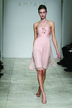 Short Halter Pink Bridesmaid Dress Chiffon A Line Silhouette