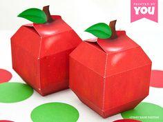 Apple Favor Box : DIY Printable School and Teacher Inspired PDF - Instant Download