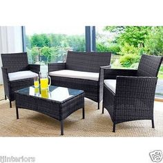 Rattan Garden Furniture Set 4 Piece Chairs Sofa Table Outdoor Patio