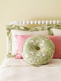 Recycled Clothing Pillow Repurpose outdated clothing into fun throw pillows. Cut two 16-inch circles, a 2-1/2 inch band to fit around the edge, and a narrow strip to cover the piping cord. With right sides together, sew the circles, piping, and band together with a 1/4-inch seam allowance. Leave an opening. Turn and insert a pillow form. Hand-stitch the opening closed.