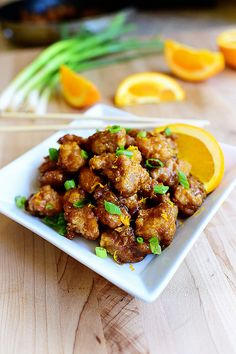 Easy, from-scratch Orange Chicken. Delightful!