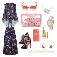 """""""Flamingo Series - OOTD"""" by haute-toddie ❤ liked on Polyvore featuring Delpozo, Burberry, Thierry Lasry, Ona Chan, Kate Spade, Estée Lauder and Nach"""