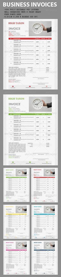 Invoice Proposal templates, Ai illustrator and Font logo - professional invoices