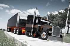 mike s Black & Orange Peterbilt 379 Show Trucks, Big Rig Trucks, Dump Trucks, Old Trucks, Peterbilt 379, Peterbilt Trucks, Custom Peterbilt, Custom Big Rigs, Custom Trucks