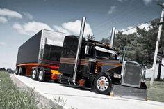 Black and orange Peterbilt