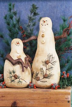 Cloth Doll Pattern  Primitive country Snowmen by FruitfullHands, $6.00