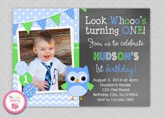 Owl 1st Birthday Invitation Boys Owl Birthday #greenblue #owl #1stbirthday
