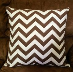 Brown chevron pillow case for pillow insert Chevron Pillow, Pillow Inserts, Doll Clothes, Pillow Cases, Cushions, Throw Pillows, Dolls, Brown, Cover