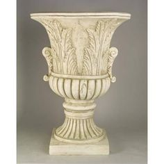 Acanthus Leaf Urn Fiberglass Indoor/Outdoor Garden Statue - This item is made-to-order and can take weeks before shipping, not delivery. Outdoor Garden Statues, Garden Urns, Pedestal, Pooja Room Door Design, Fiberglass Planters, Acanthus, Terracotta Pots, Leaf Design, Garden Planning