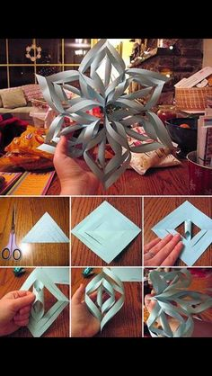 Easy Christmas craft idea... paper Snow flakes for your windows, front entrance.. Spray paint with sparkles