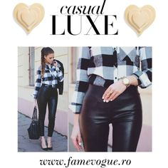 Sport your favorite plaid shirt and faux leather pants to build up a casual luxe street chic outfit. Faux Leather Pants, Faux Leather Jackets, Cute Leggings, Pant Shirt, Casual Street Style, Casual Outfits, Casual Ootd, Trendy Fashion, Style Fashion