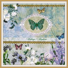 2 PAPER NAPKINS for DECOUPAGE - Vintage Butterfly #013 by VintageNapkins on Etsy