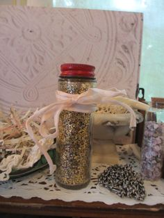 Vintage Gold Glitter Un Opened Glass Bottle by LeapingFrogDesigns, $5.00