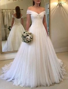 Elegant Pleated Tulle Floor Length Wedding Dresses Off The . Elegant Pleated Tulle Floor Length Wedding Dresses Off The wedding gowns 2019 - Wedding Gown Outdoor Wedding Dress, Western Wedding Dresses, V Neck Wedding Dress, Long Wedding Dresses, Princess Wedding Dresses, Perfect Wedding Dress, Cheap Wedding Dress, Wedding Dress Styles, Bridal Dresses