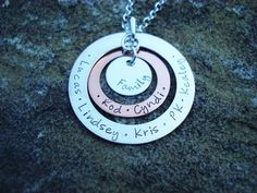 Hand Stamped, Mixed Metal Eternal Love Family Necklace