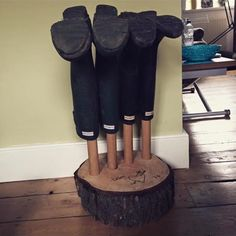 Hardwood wood stump welly holder Wellington boots custom bespoke theouthouse theouthousecreations handmade personalised