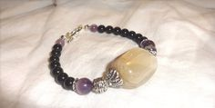 NEW BEGINNINGS and STRENGTH Moonstone Bracelet - with Amethyst and Onyx - Natural and Genuine Gemstones -