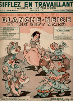 about original French sheet Music Blanche-neige et les sept nains [Snow white and the seven dwarfs] with the song Sifflez en Travaillant [ Whistle while you work] Autorisation by Walt Disney Copyright by Irving Berlin Vintage Disney Posters, Disney Movie Posters, Cartoon Posters, Vintage Cartoon, Vintage Comics, Cartoons, Walt Disney, Disney Art, Disney Wallpaper