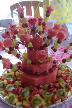 FRUIT BIRTHDAY CAKE  Watermelon, Grapes  (Green & Red), Kiwi, Strawberry, Pineapple, Blueberries, Raspberries  Skewered Hearts, Stars, Flowers