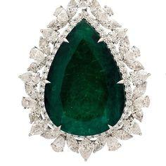 When Size Matters... 149ct Colombian Emerald Pear Shape / Gubelin Certified . Total Weight of Mix Cut Diamonds - D- F, VVS1 - VS - 29.09ct Platinum 950 -42.70gr