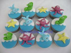 Cupcakes de bichos do mar- Animals Sea cupcakes by Alexandra Bolos Artísticos, via Flickr