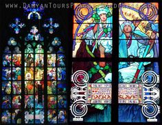 Alfonse Mucha's Stained Glass Window (1931) in St.Vitus Cathedral. Art Nouveau.Jugendstil.Secession.Prague
