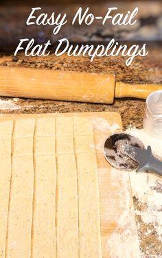 Flat Dumplings Recipe, Homemade Dumplings, Homemade Soup, Chicken And Dumplin Recipe, Chicken And Dumplings, Baking Recipes, Soup Recipes, Chicken Recipes, Steak Recipes
