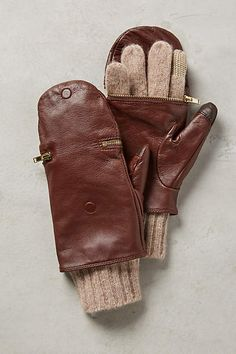 Pop-Top Leather Gloves - anthropologie.com Love these, wish they came in black & grey!!!