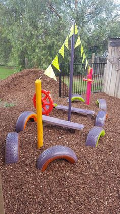 A huge collection of ideas and inspiration for reusing tyres in outdoor play creatively & safely. Save money on outdoor play equipment by upcycling! Project & safety tips included for early childhood educators and teachers. Toddler Playground, Preschool Playground, Natural Playground, Backyard Playground, Playground Ideas, Kids Outdoor Play, Outdoor Play Spaces, Kids Play Area, Backyard For Kids