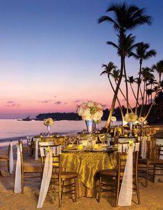 Dreams Palm Beach Punta Cana wedding reception tablescape