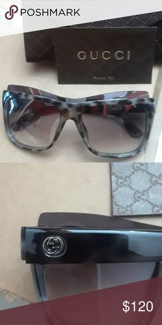 Mens Gucci Sunglasses NWT Made in Italy Mohagany luxury sunglasses. Glasses are brown and blue and square shaped. Accessories Sunglasses