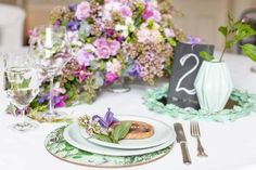 Styled by Emily Westbrooks / Purple and Green Garden Wedding Table Inspiration | Confetti