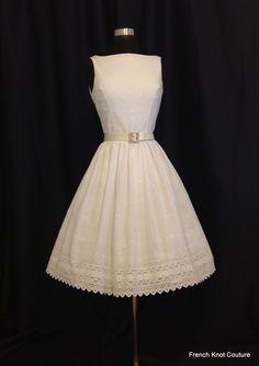 Wedding Dress Tea Length SWEET SUMMERTIME, Backless Eyelet Cotton, Silk