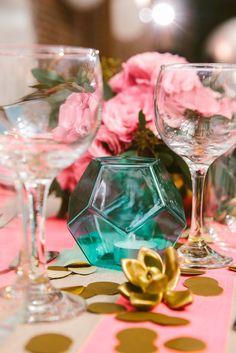 wedding reception party cute gold green floral flowers pink goblets | Jen + Kat | Los Angeles Stylish Same Sex Wedding | Jenn Emerling Weddings