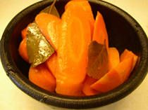 Spicy pickled carrots (Mexican). Not the recipe I am used to making (mine calls for oregano instead of bay leaves), but will definitely give it a try. These carrots make an awesome snack! Just the right amount of spice and crunch to satisfy any snack-attack.
