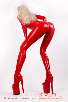 Laura Paradise Latex Rubber Red Shiny Bright Glossy Heels Fetish Catsuit