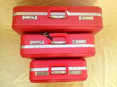 Store spare line sheets, papers, samples in these lovelies.   Vintage suitcase set by Maker Mama