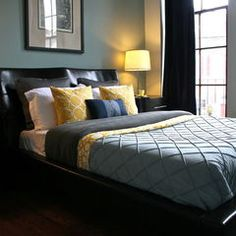 Master Bedroom: love the color combo. Thinking grey walls, black furniture, and pops of teal and yellow.