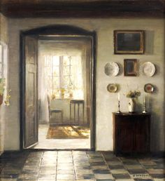 "Carl Vilhelm Holsøe (1863–1935). The Sunlit Room, 1922 . Oil on canvas, 54 x 48 cm (21.3"" x 18.9"") in a Private Collection"