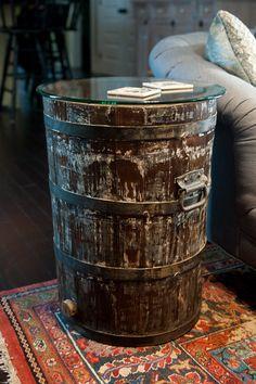 antique cider barrel turned side table
